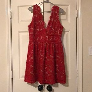Red lace dress with champagne bottom layer